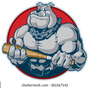 Vector cartoon clip art illustration of a tough mean muscular bulldog mascot with a chain around its neck holding a baseball or softball bat menacingly. designed as a bust inside a circle.