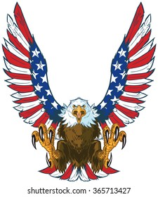 Vector cartoon clip art illustration of a mean screaming bald eagle flying forward with talons out and spread American flag wings.