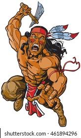 Vector cartoon clip art illustration of an Apache Indian Native American warrior or brave leaping toward the viewer and attacking with a tomahawk.