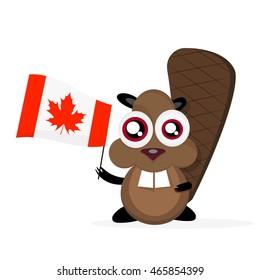 Vector cartoon clip art illustration of a cute, happy cartoon beaver holding canadian Flag.