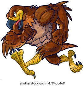 Vector cartoon clip art illustration side view of a tough muscular hawk, falcon, or eagle mascot running.
