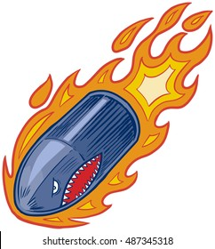 Vector cartoon clip art illustration of an angry bullet or artillery shell mascot in flames with a shark mouth face flying or diving downward.