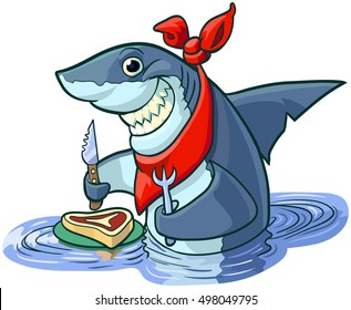 Vector cartoon clip art illustration of a cute happy smiling hungry shark with a knife, fork, and bib, about to eat a steak on a plate.