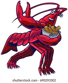 Vector cartoon clip art illustration of a crayfish, crawfish, crawdad, or lobster in a football pose holding a bowl of corn and potatoes