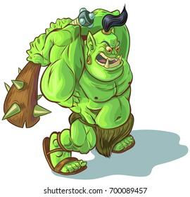 Vector cartoon clip art illustration of a tough mean muscular green orc or ogre or troll mascot with a spiked club raised to smash something. Lines, color fills, and club are on separate layers.