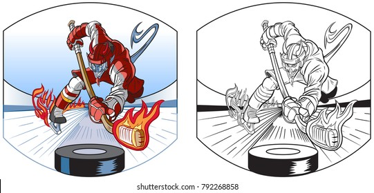 Vector cartoon clip art illustration of a devil mascot in uniform playing ice hockey, leaving a trail of fire behind his skates, hitting a puck with a flaming stick. In color and black and white.