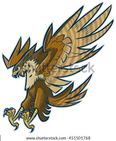 Vector Cartoon Clip Art Illustration Hawk Stock Vector ...
