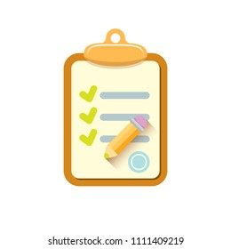 vector cartoon Clipboard icon with green checkmarks and orange pencil isolated on white background. Checklist vector flat style symbol. to do list