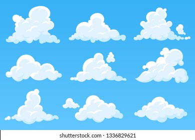 Vector cartoon clouds isolated on blue sky. Set of white cumulus clouds. Cloudy heaven background. Illustration for your design. Eps 10.