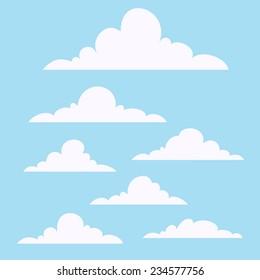 Vector Cartoon Clouds Set.