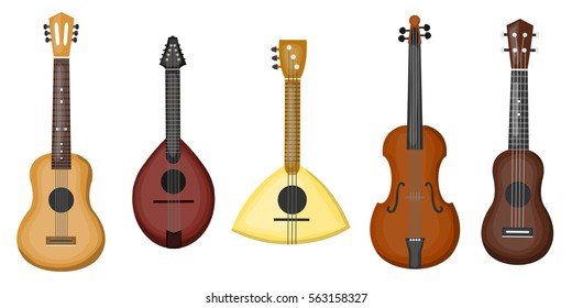 Vector cartoon collection with different type of guitars on the white background. Concept of music and musical instruments