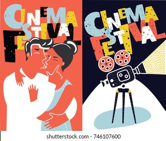 Vector cartoon collection of two funny cartoon movie poster design concepts and ideas. Vintage cinema posters set. cinema flyer templates with retro camera and kissing coupel.