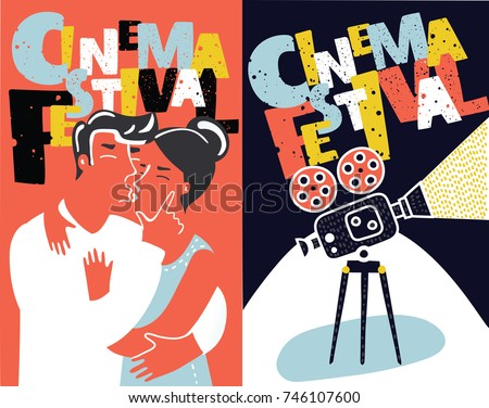 Awesome Vector Cartoon Collection Of Two Funny Cartoon Movie Poster Design Concepts  And Ideas. Vintage Cinema