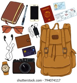 Vector Cartoon Color Travel Set. Personal Belongings for Journey