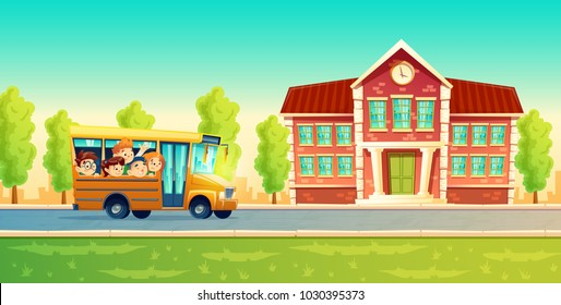 Vector cartoon colorful background with cheerful smiling kids, happy pupils, riding on yellow bus. Back to school concept illustration. Poster with group of boys and girls go on excursion or trip