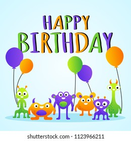 Vector cartoon colorful birthday greeting card for children with monsters