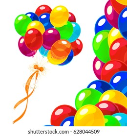 vector cartoon colorful bunch of birthday balloons. Clip art isolated on transparent background.