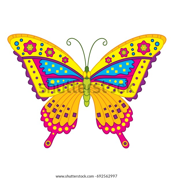 Vector cartoon colorful butterfly. Butterfly vector illustration