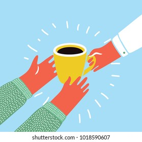 Vector cartoon colorful illustration of an isolated hand giving a cup of coffee in hand of another person. Pour over coffee. Modern funny graphic style object.