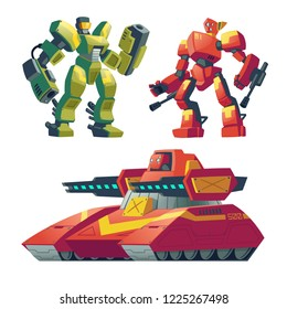 Vector cartoon combat robots with red tank. Battle androids with artificial intelligence, military vehicle isolated on white background for games. Futuristic soldiers, robotic toys.