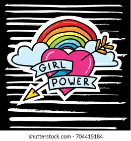 Vector cartoon comic style doodle outlined illustration of arrowed heart and rainbow with feminism slogan lettering girl power on black background with hand drawn ink stripes brush strokes print