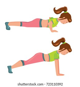 Vector cartoon comic style flat isolated illustration of girl making pushups sport exercises. Gymnastic step by step tutorial instruction