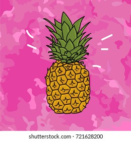 Vector cartoon comic style hand drawn ink illustration of juicy pineapple on grunge vector texture pink camouflage background