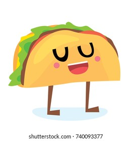 Vector cartoon comic style illustration set of happy smiling taco (Mexican food) character mascot