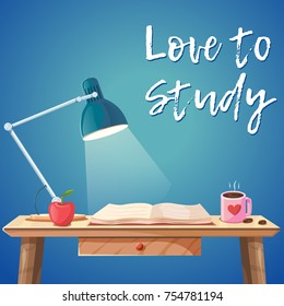 Vector cartoon comic style illustration of working study table. Office desk interior with lamp, open book, apple and hot coffee. Concentration, motivation and hard studying illustration