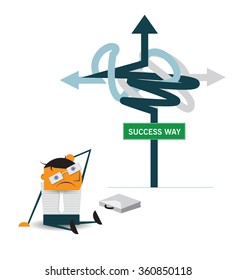 Vector cartoon, Confused businessman sitting on the floor in front of sign and thinking of choice for Choosing the right strategic path direct to succeed way. Business choice, Decision concept.