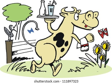 Vector cartoon of cow carrying tray with glass of milk.