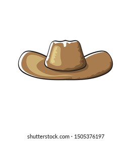 vector cartoon cowboy hat isolated on white background. Cowgirl leather hat