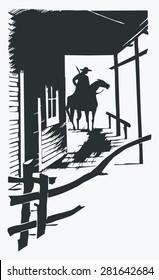 Vector cartoon cowboy western one line one object