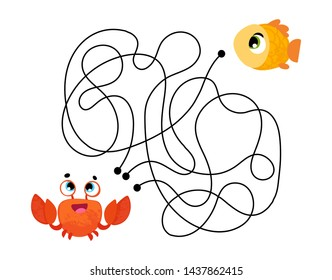 Vector cartoon crab in children's style. Vector illustrations for children books. Labyrinth. Educational game for children.