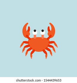 Vector cartoon Crab. Isolated crab on blue background. Crab food or kids vector illustration.