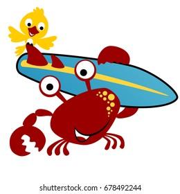 vector cartoon crabs carrying surfboard with a bird