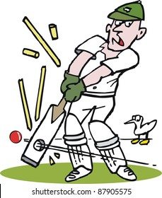 Vector cartoon of cricketer being bowled by fast ball.