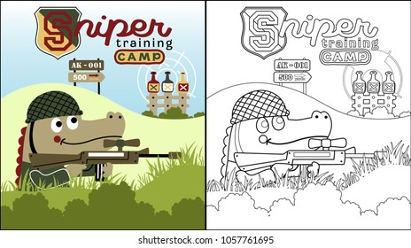 vector cartoon of Crocodile the best sniper, coloring book or page