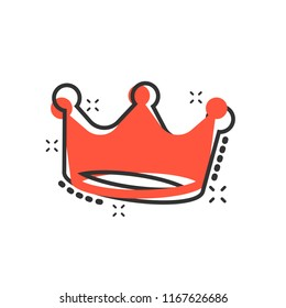 Vector cartoon crown diadem icon in comic style. Royalty crown illustration pictogram. King, princess royalty business splash effect concept.