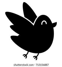 Vector Cartoon Cute Bird Isolated On White Background