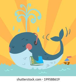Vector cartoon cute blue whale. With headphones in sea and with tiny ship.