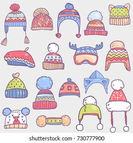 Vector cartoon cute collection set with colorful winter hats
