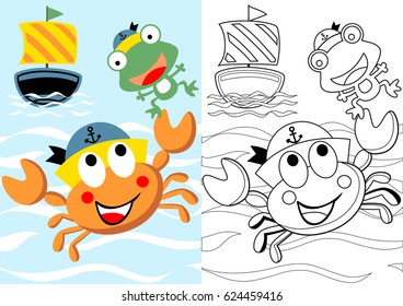 vector cartoon of cute crab the skipper with frog his crew, coloring book or page