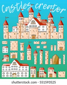 Vector cartoon cute creator castles. Set of medieval architecture: houses, towers, fences, walls, gates.