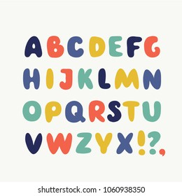 Vector cartoon cute funny english ABC. Collection of funny bubble alphabet. Cute colorful english font, hand drawn typeface in different colors on white