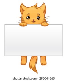 Vector cartoon cute ginger cat hanging on a blank white sign
