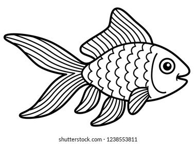 Vector cartoon cute gold fish line art