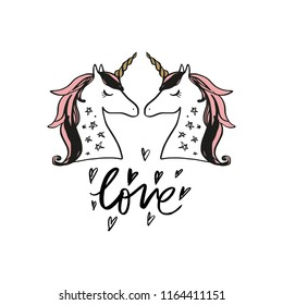 Vector cartoon cute hand drawn unicorn sketch face. Pastel nursery art. It may be used for sticker, poster, postcard, badge, layout, greeting card, patch, wall art, phone case, t-shirt