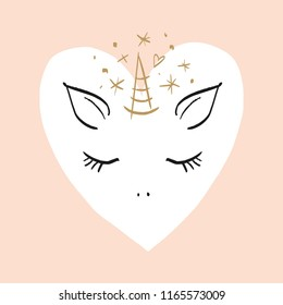 Vector cartoon cute hand drawn girl unicorn. Pastel nursery art. It may be used for sticker, poster, postcard, badge, layout, greeting card, patch, wall art, phone case, t-shirt