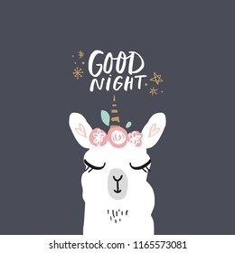 Vector cartoon cute hand drawn girl llama unicorn. Pastel nursery lettering card. It may be used for sticker, poster, postcard, badge, layout, greeting card, patch, wall art, phone case, t-shirt